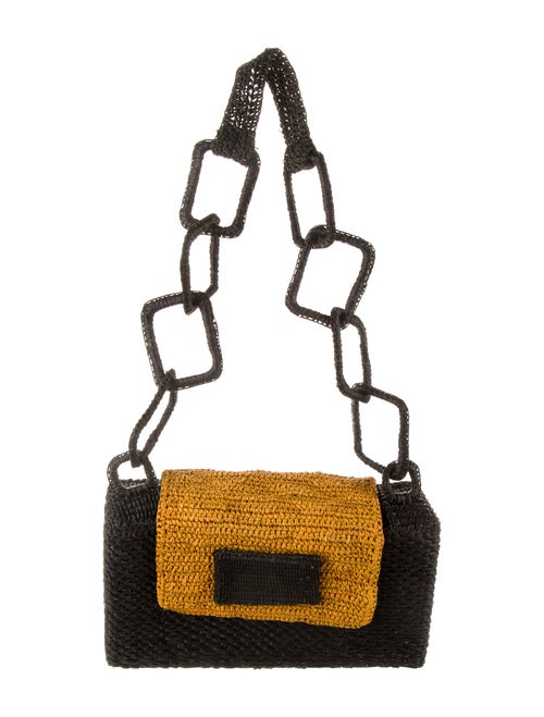 Marina Luxury Hats Woven Straw Shoulder Bag Black