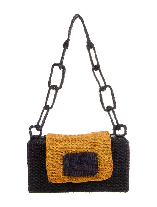 Marina Luxury Hats Woven Straw Shoulder Bag Purple