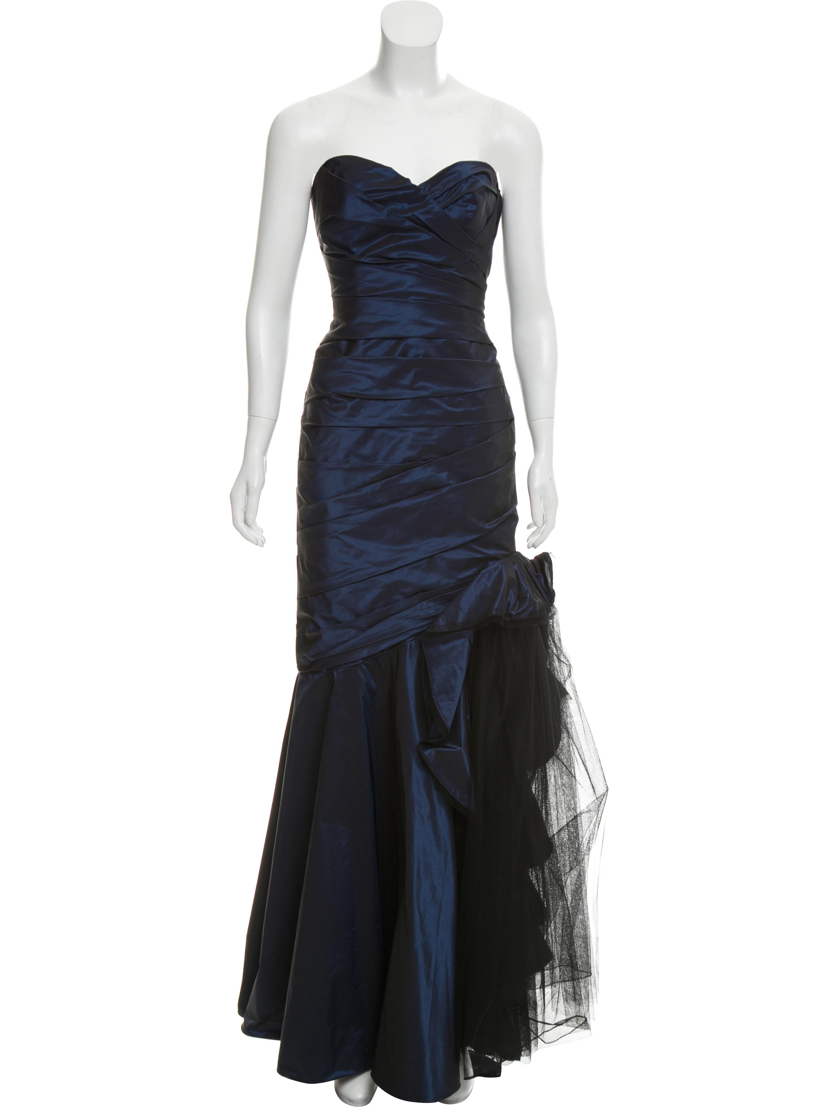 ML Monique Lhuillier Ruched Strapless Evening Gown - Clothing ...