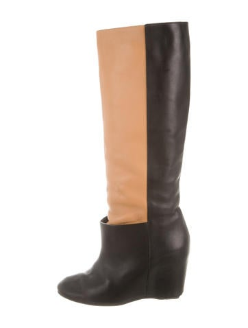 MM6 by Maison Martin Margiela Leather Knee-High Wedge Boots None