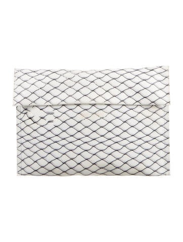MM6 by Maison Martin Margiela Fence Print Leather Clutch None