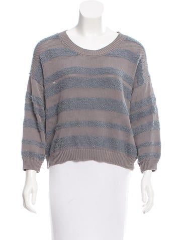 MM6 by Maison Martin Margiela Cropped Striped Sweater None