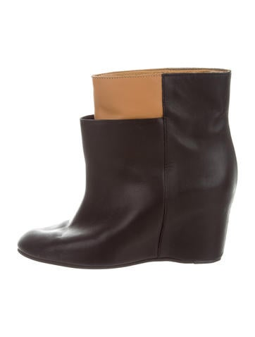 MM6 by Maison Martin Margiela Leather Wedge Ankle Boots None