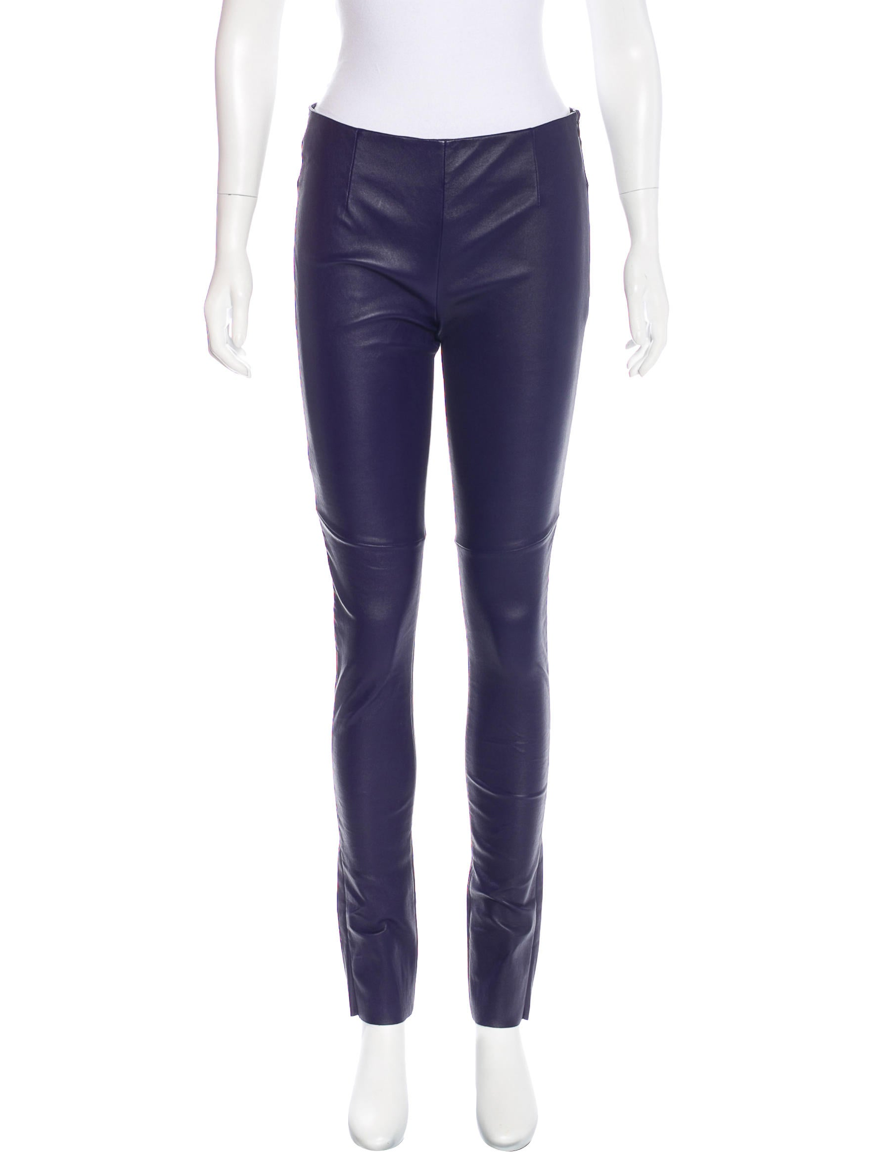 Mm6 by maison martin margiela mid rise leather leggings for 10 moulmein rise la maison