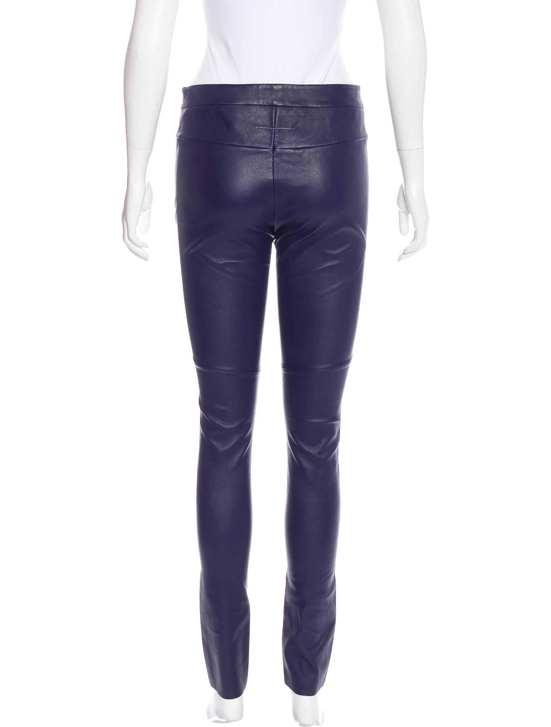 Mm6 by maison martin margiela mid rise leather leggings for 10 moulmein rise la maison