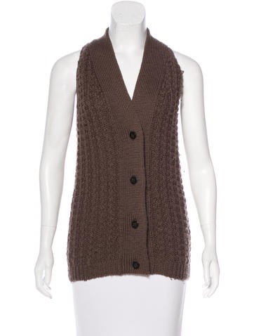 MM6 by Maison Martin Margiela Sleeveless Wool Cardigan None