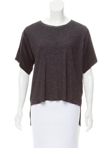 MM6 by Maison Martin Margiela Wool Short Sleeve Top None