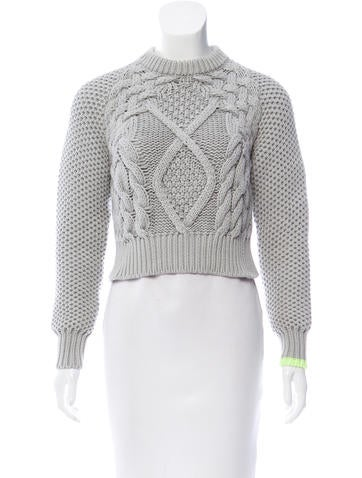 MM6 by Maison Martin Margiela Cable Knit Crop Sweater None