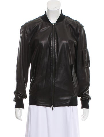 MM6 by Maison Martin Margiela Leather Zip-Up Jacket None