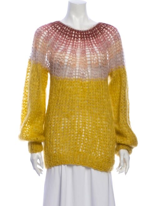 Maiami Mohair Striped Sweater Yellow