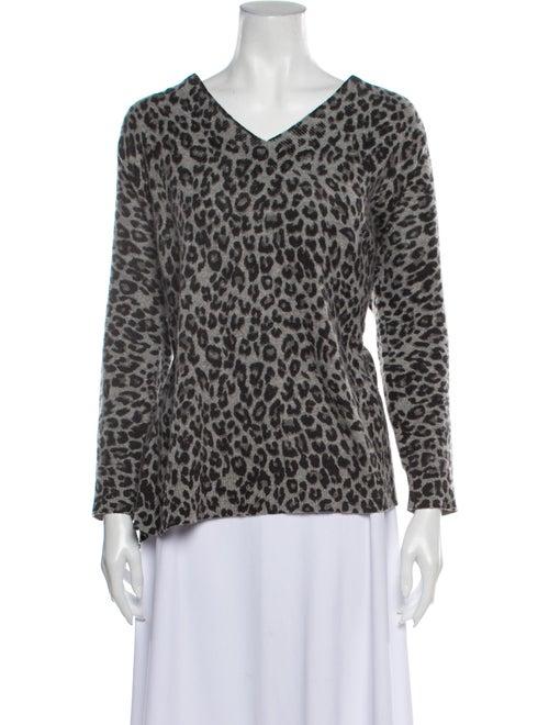 Minnie Rose Cashmere Animal Print Sweater Rose