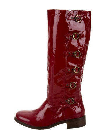 moschino cheap and chic patent leather knee high boots