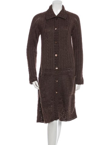 Moschino Cheap and Chic Cable Knit Wool Cardigan