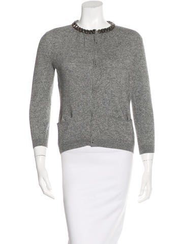 Moschino Cheap and Chic Wool & Cashmere-Blend Embellished Cardigan None