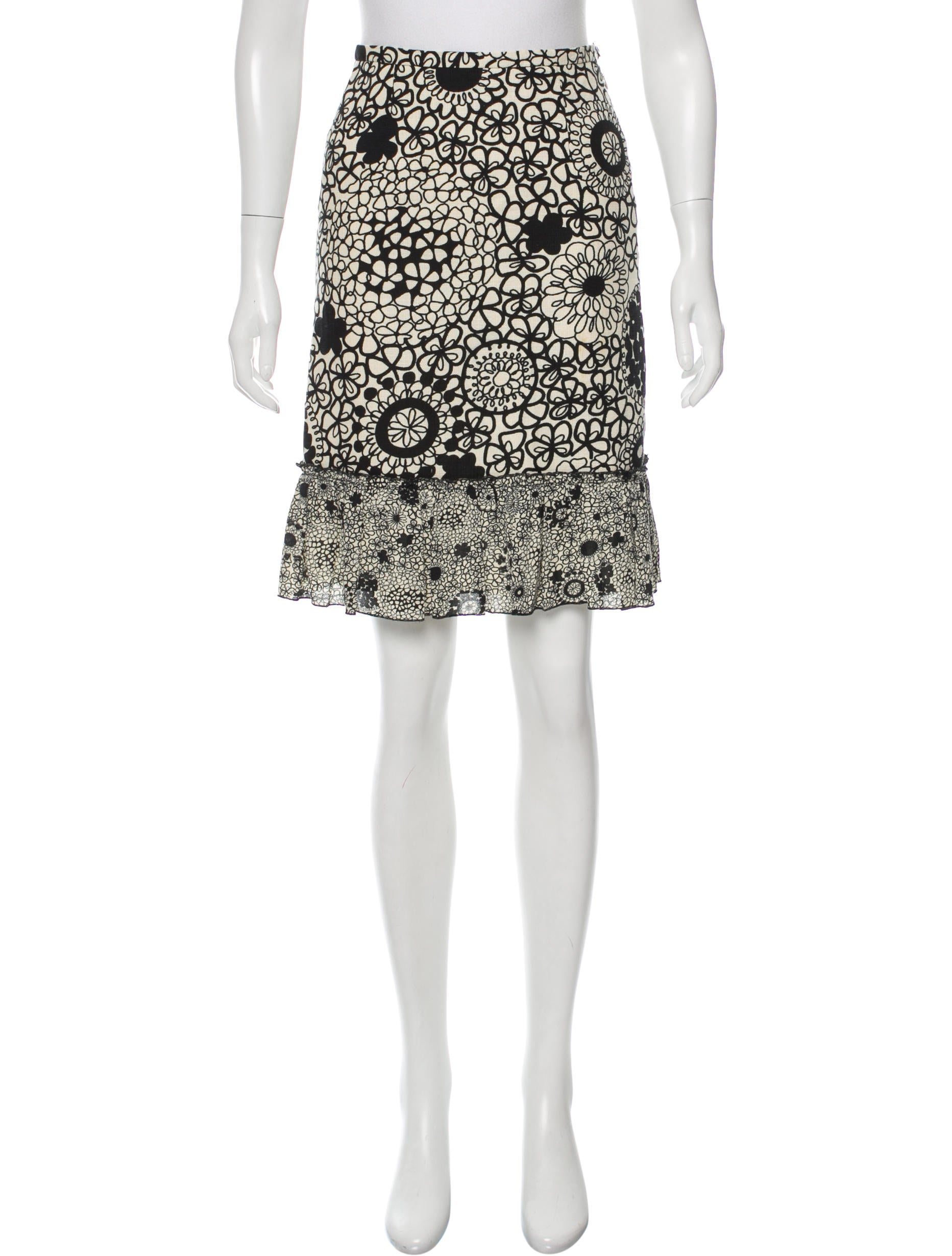 moschino cheap and chic printed knee length skirt