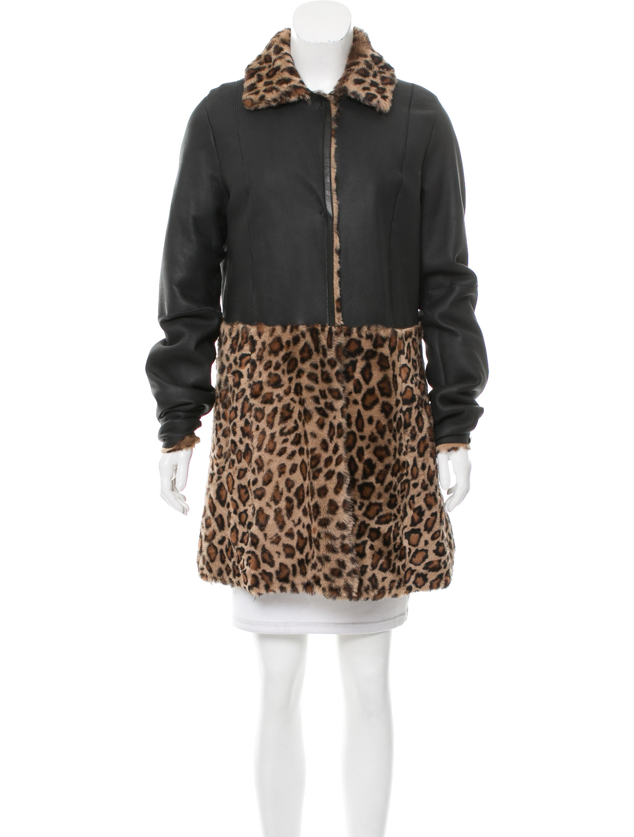 Moschino cheap and chic shearling knee length coat Inexpensive chic