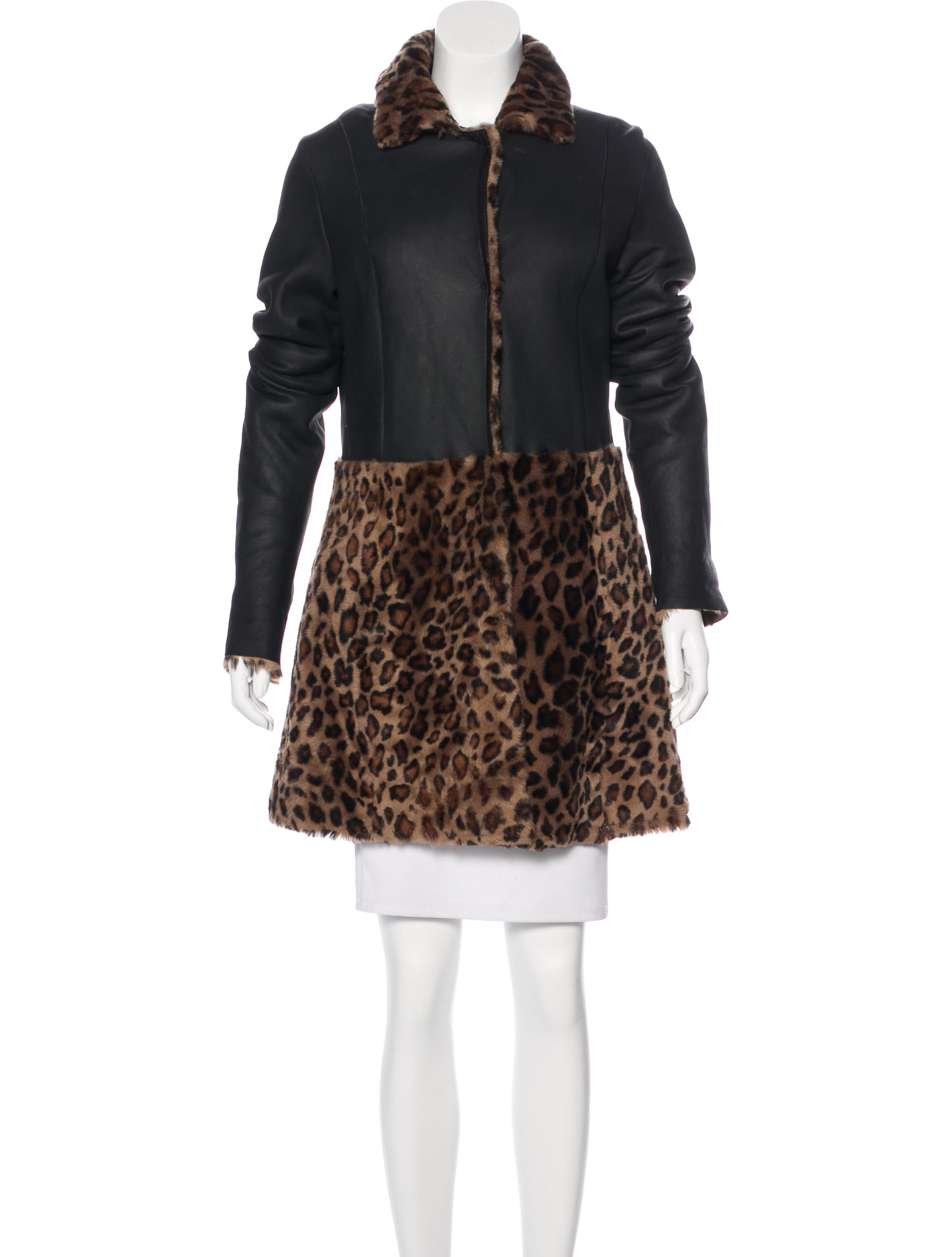 Moschino cheap and chic leopard print shearling coat Inexpensive chic