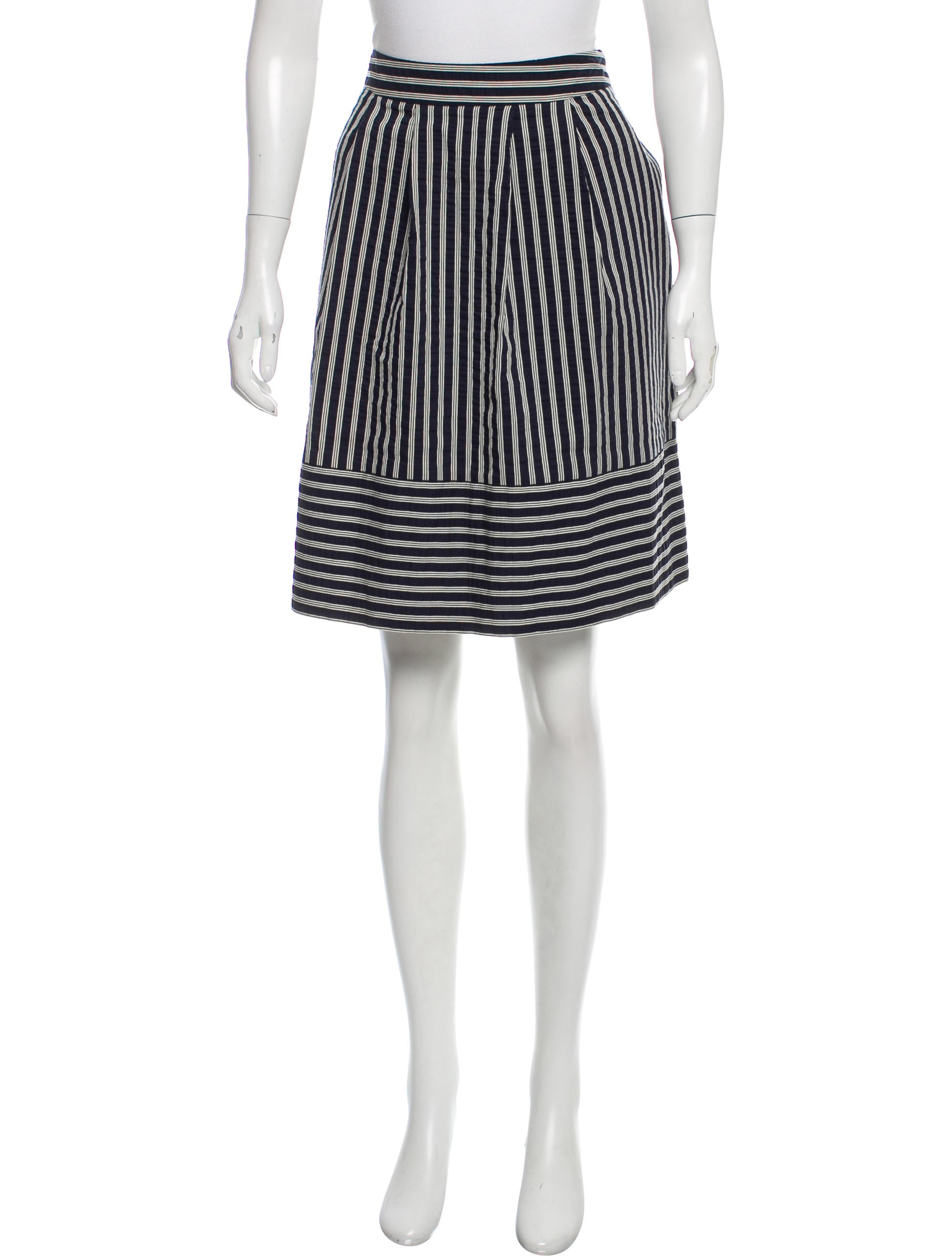 moschino cheap and chic striped knee length skirt