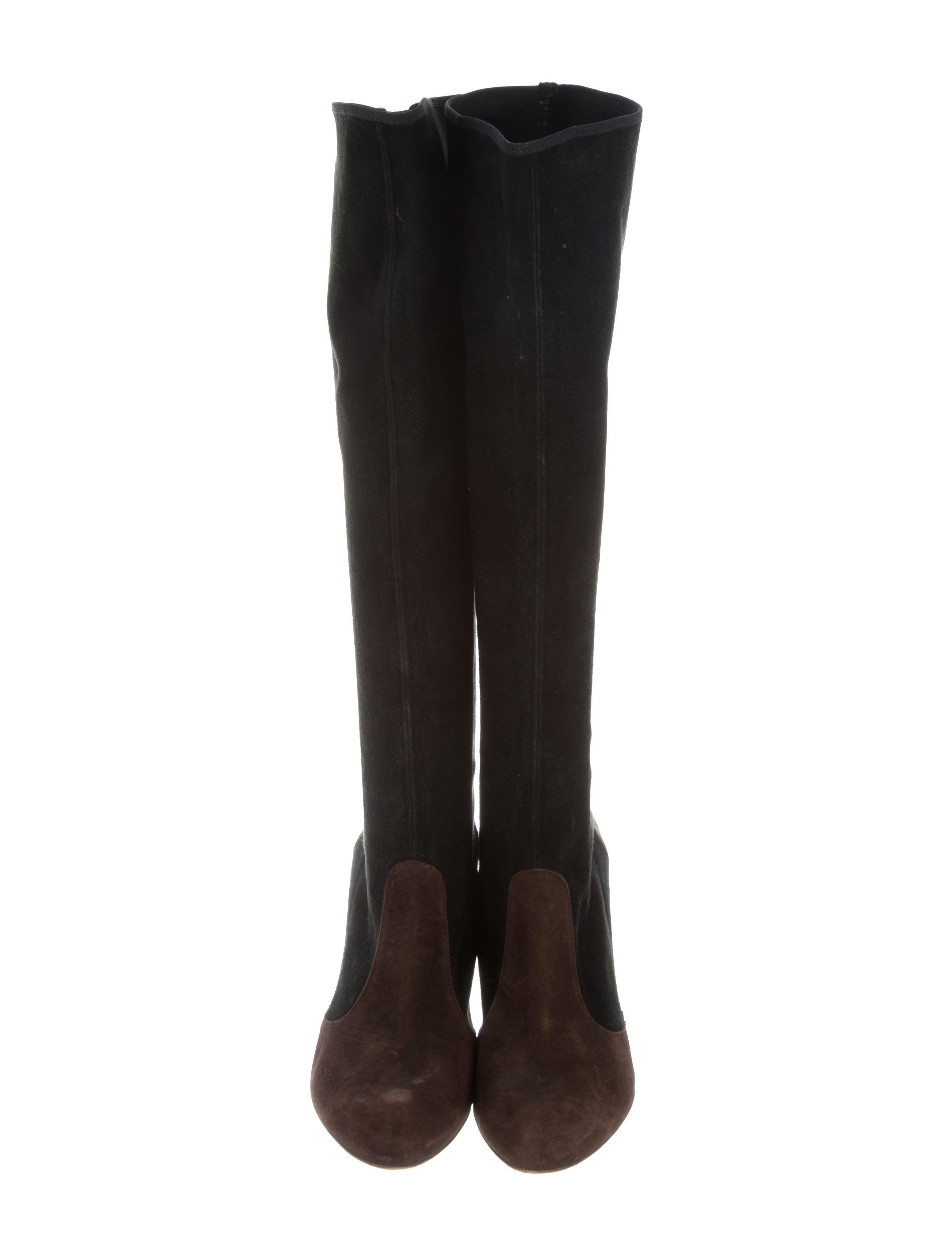 moschino cheap and chic suede knee high wedge boots