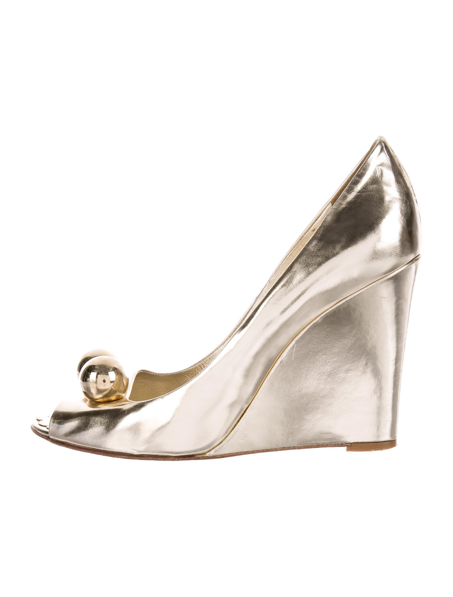 sale best wholesale reliable cheap online Moschino Cheap and Chic Metallic Peep-Toe Wedges fake online very cheap price V4ni0T
