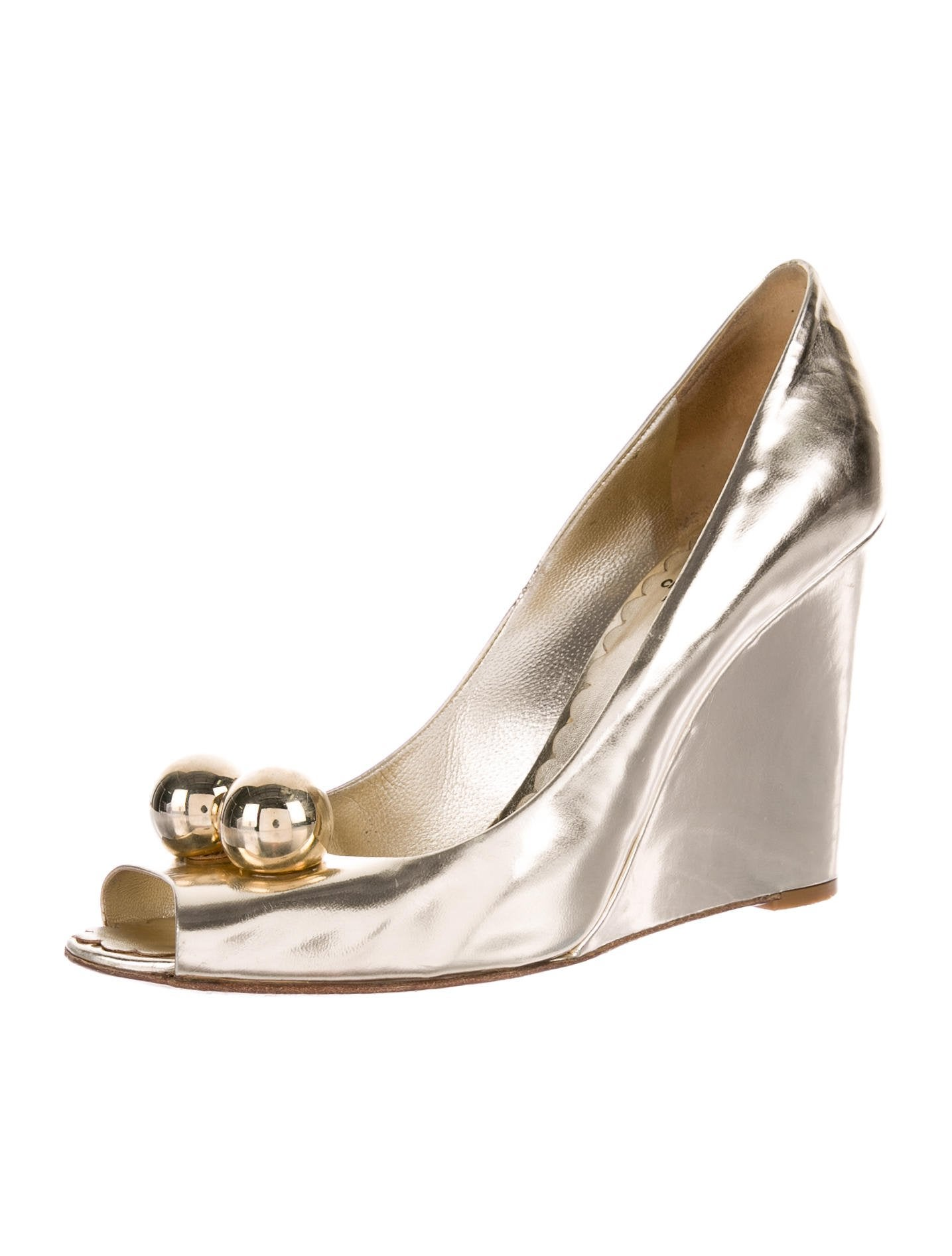 best seller Moschino Cheap and Chic Metallic Peep-Toe Wedges perfect online hk3eStGnJ