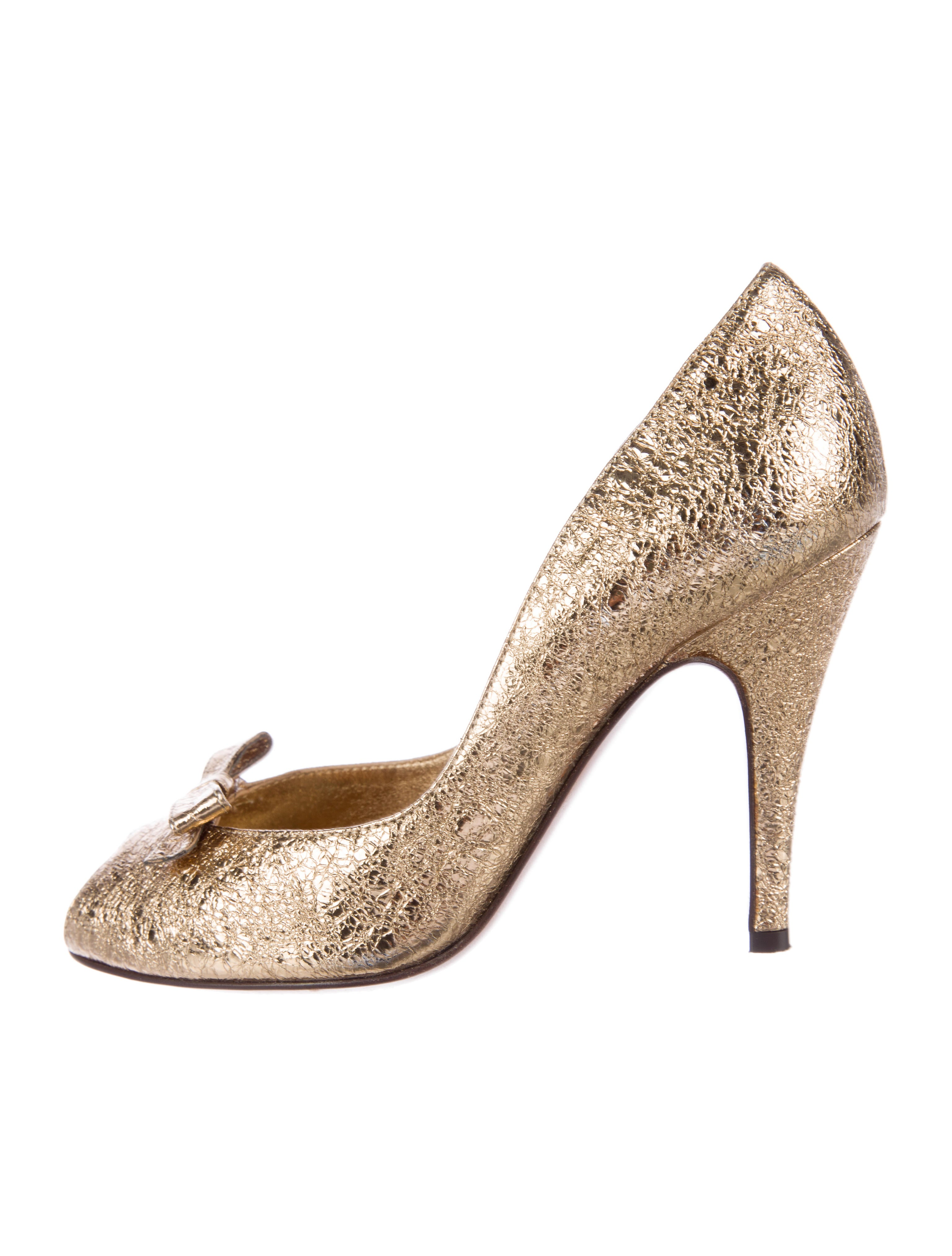outlet store online Moschino Cheap and Chic Metallic Peep-Toe Pumps clearance release dates latest collections online nQcfHuF