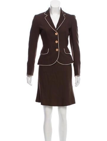 Excellent Sale Online Oscar de la Renta Herringbone Silk-Cashmere Skirt Suit Authentic qNsFRB
