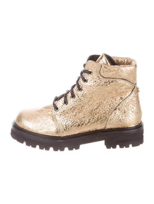 Montelliana Leather Combat Boots Gold