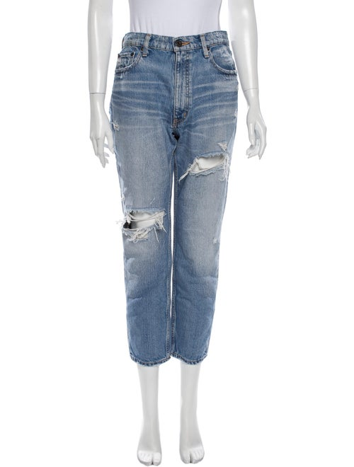 Moussy High-Rise Straight Leg Jeans Blue