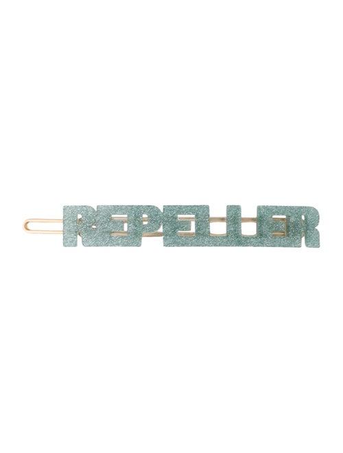 Man Repeller Acetate Logo Barette blue