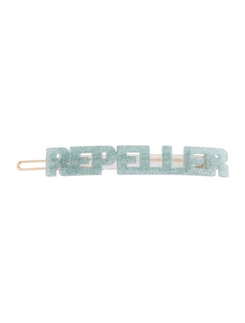 Man Repeller Acetate Logo Barrette blue