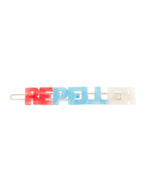 Man Repeller Acetate Logo Barrette Red