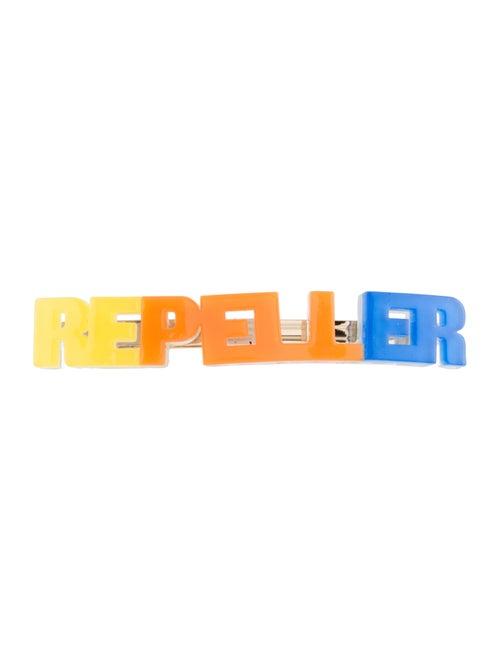 Man Repeller Acetate Logo Barrette Yellow