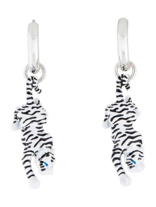 Man Repeller Tiger Drop Earrings Silver