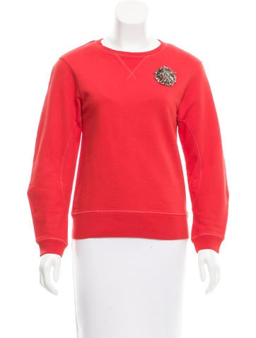 McQ by Alexander McQueen Embroidered Rib Knit Sweater None