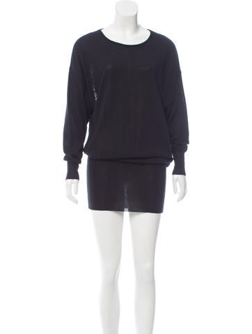 McQ by Alexander McQueen Lace-Accented Wool Dress None
