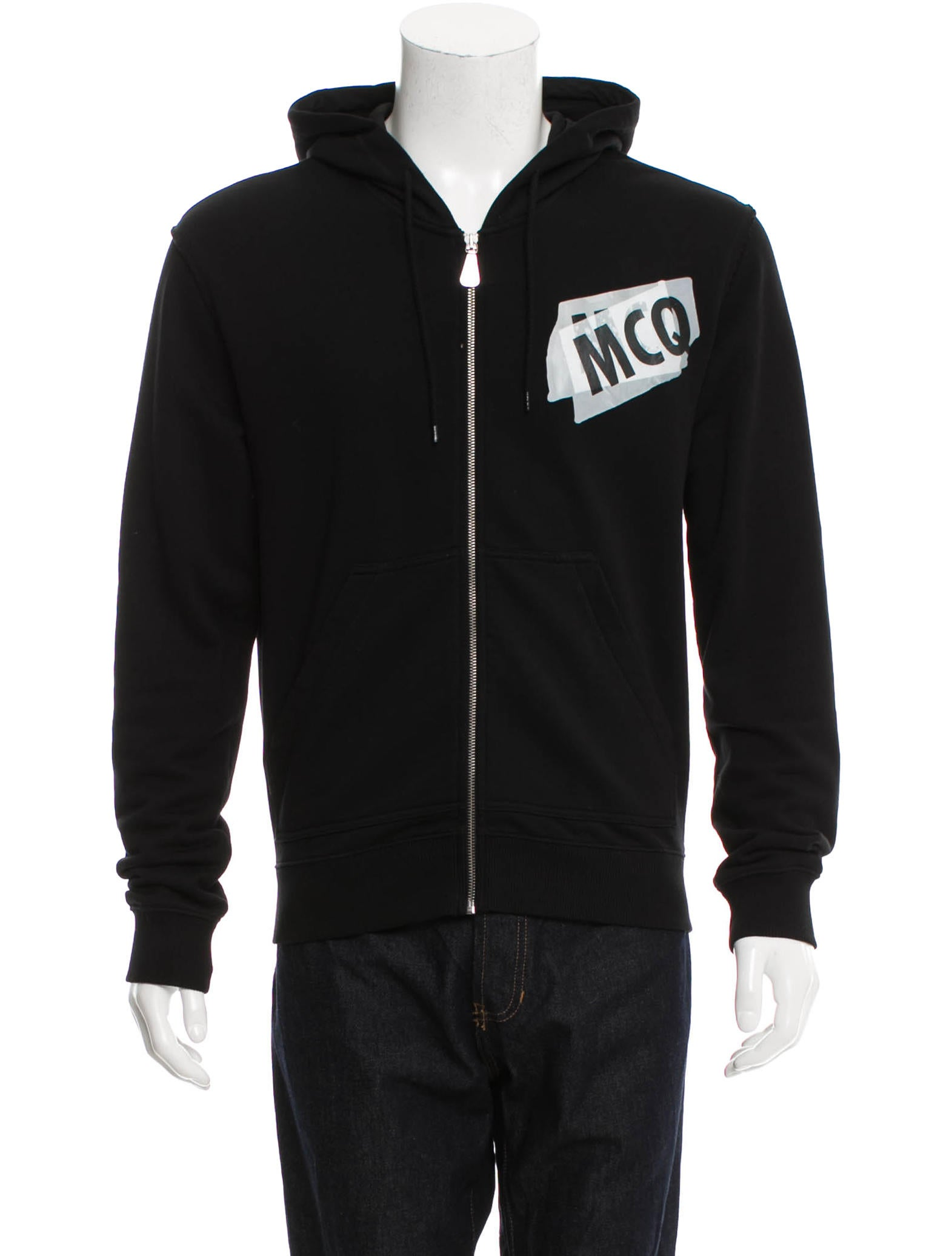 mcq by alexander mcqueen logo zip hoodie clothing wmq24032 the realreal. Black Bedroom Furniture Sets. Home Design Ideas