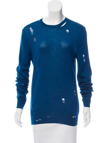 McQ by Alexander McQueen Distressed Scoop Neck Sweater None