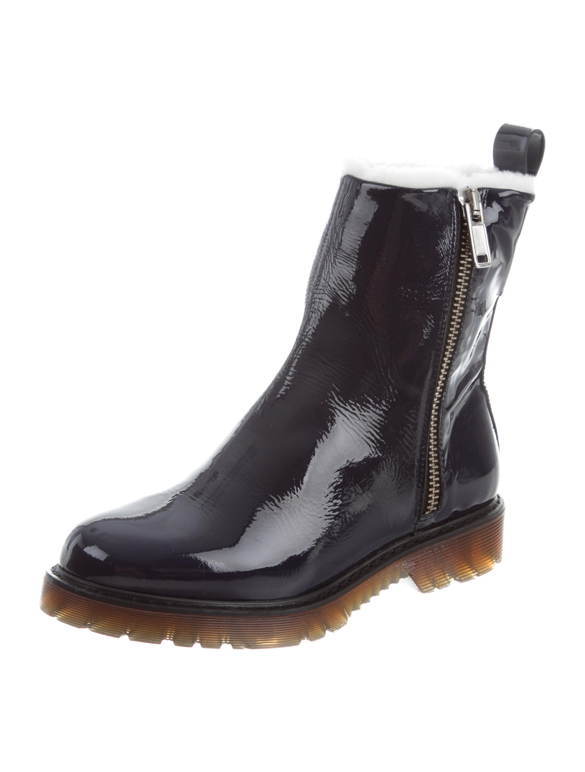 free shipping recommend McQ Alexander McQueen McQ by Alexander McQueen Shearling-Lined Patent Leather Ankle Boots w/ Tags buy cheap under $60 outlet high quality HF07zSw