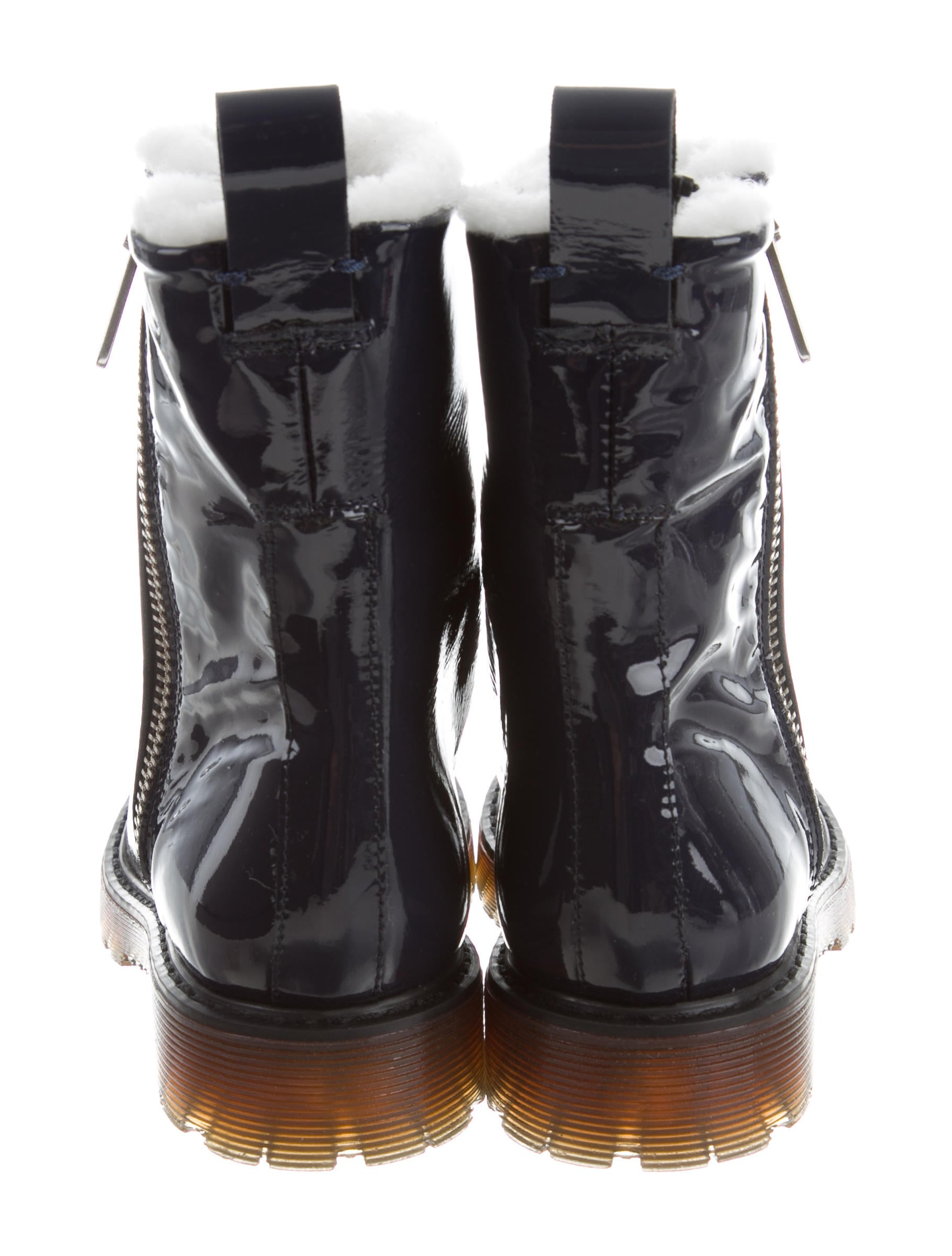 McQ Alexander McQueen McQ by Alexander McQueen Shearling-Lined Patent Leather Ankle Boots w/ Tags cheap visit footlocker cheap price FWLn6