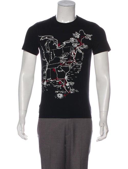 McQ Alexander McQueen Map Print Crew Neck T-Shirt