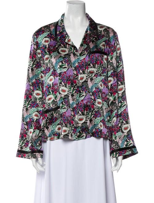 Morgan Lane Silk Floral Print Button-Up Top Black