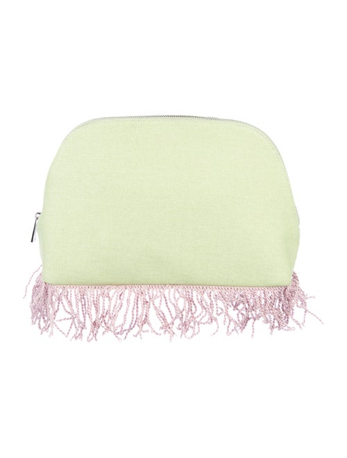 MR by Man Repeller Fringe-Trim Woven Clutch green