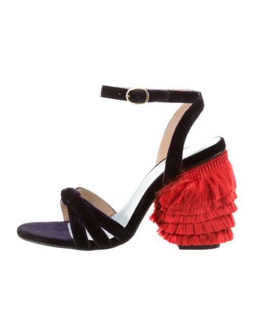 MR by Man Repeller Velvet Ankle Strap Sandals Purp