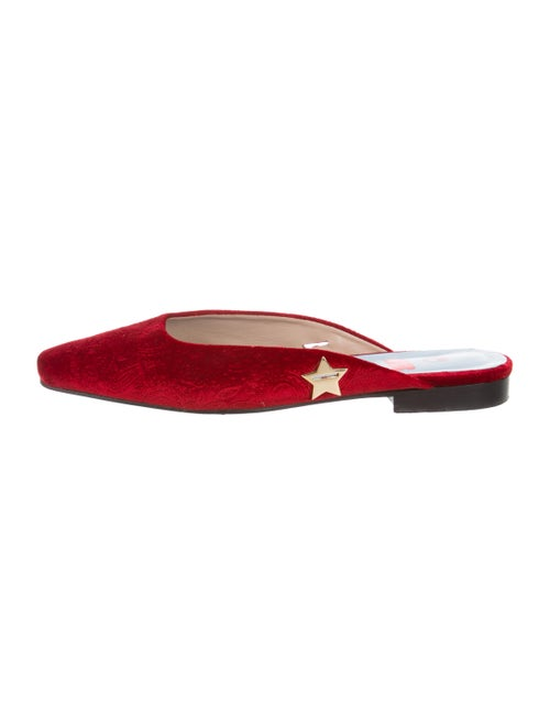 MR by Man Repeller Square-Toe Velvet Mules Red
