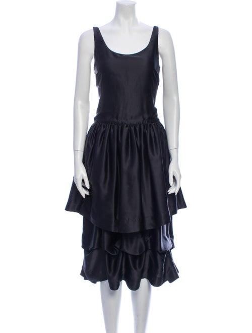 Man Repeller x PJK Silk Midi Length Dress Black