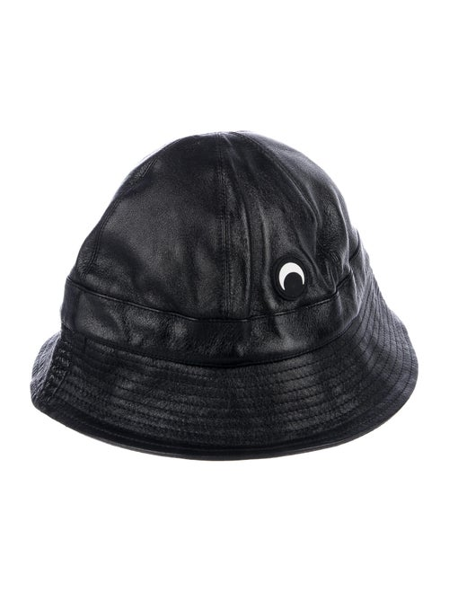 Marine Serre Leather Bucket Hat Black