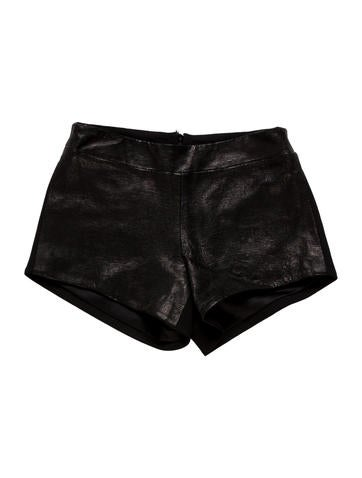 Leather-Trimmed Mini Shorts