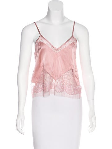 Michelle Mason Silk Lace-Trimmed Top w/ Tags None