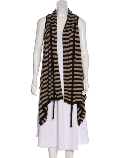 Michelle Mason Striped Sleeveless Cardigan Black